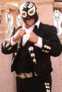 images of Mariachi musician with mask