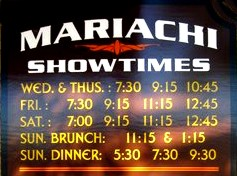 image of Show Time Sched. for Mariachi bands