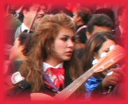 Image of Mariachi girl in crowd of people